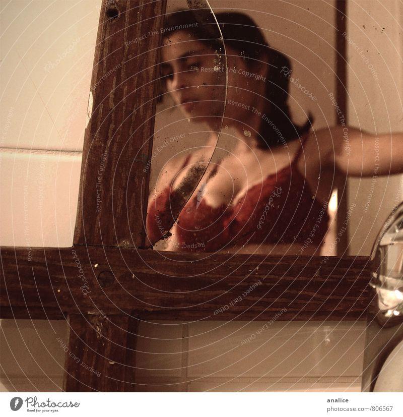 broken mirror Mirror Bathroom Feminine Woman Adults 1 Human being Underwear Dark Sharp-edged Elegant Creepy Beautiful Uniqueness Eroticism Anticipation Secrecy