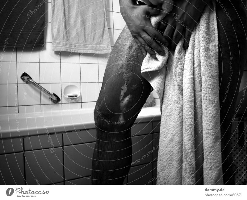 Wash day I Man Foam Towel Black White Swimming & Bathing Legs Black & white photo