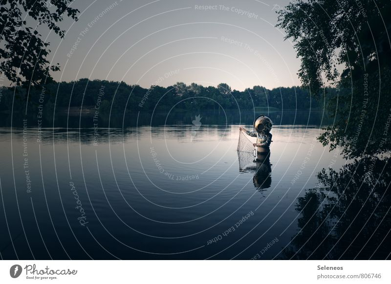 emergence Fishing (Angle) Trip Adventure Summer Human being 1 Environment Nature Landscape Water Sky Cloudless sky Horizon Tree Lakeside River bank Brook Helmet