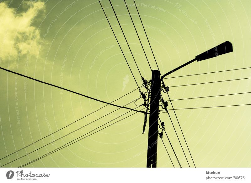 Green Summer Clouds Lamp Back Industry Energy industry Electricity Cable Connection Transmission lines High voltage power line Illuminant Power failure