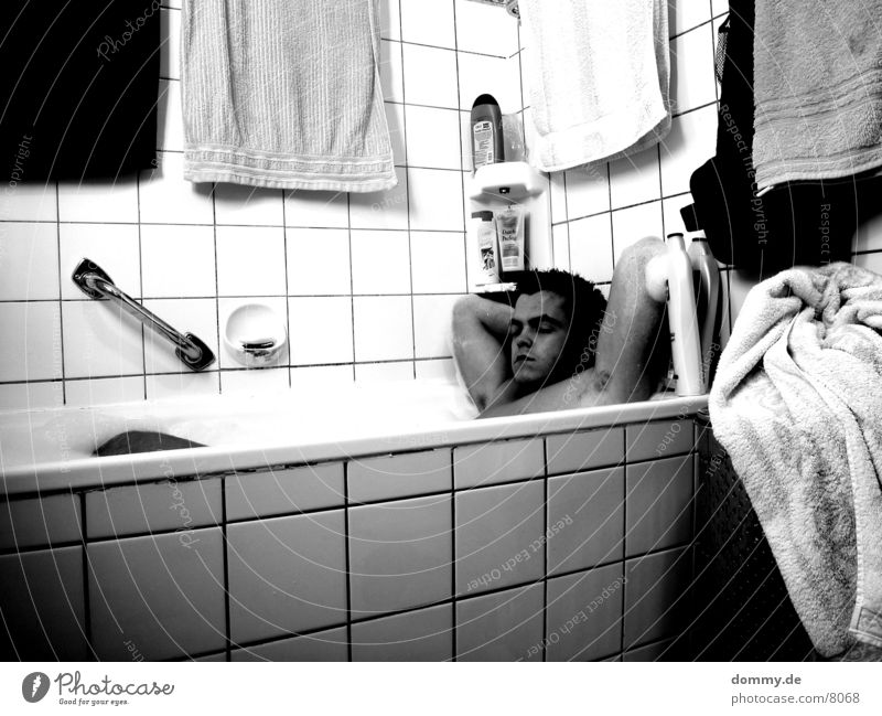 Man White Black Legs Swimming & Bathing Wash Foam Towel Black & white photo