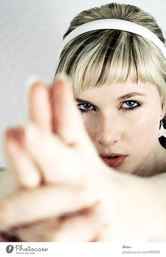 Woman Hand Beautiful Face Eyes Hair and hairstyles Head Mouth Power Fear Blonde Fingers Star (Symbol) Sweet Dangerous Gloomy
