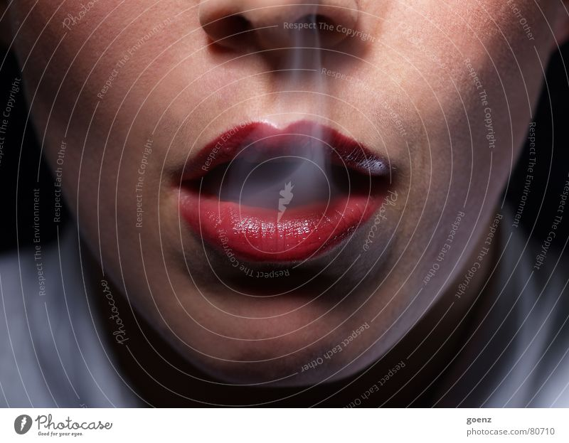 Woman Red Mouth Smoking Lips Smoke Cheek Section of image Partially visible Face of a woman Unhealthy Detail of face Woman`s mouth Inhale Cigarette smoke