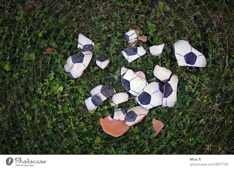 1 : 0 Playing Sports Ball sports Loser Soccer Football pitch Broken Sadness Frustration World Cup Shard Disaster Colour photo Exterior shot Close-up Deserted