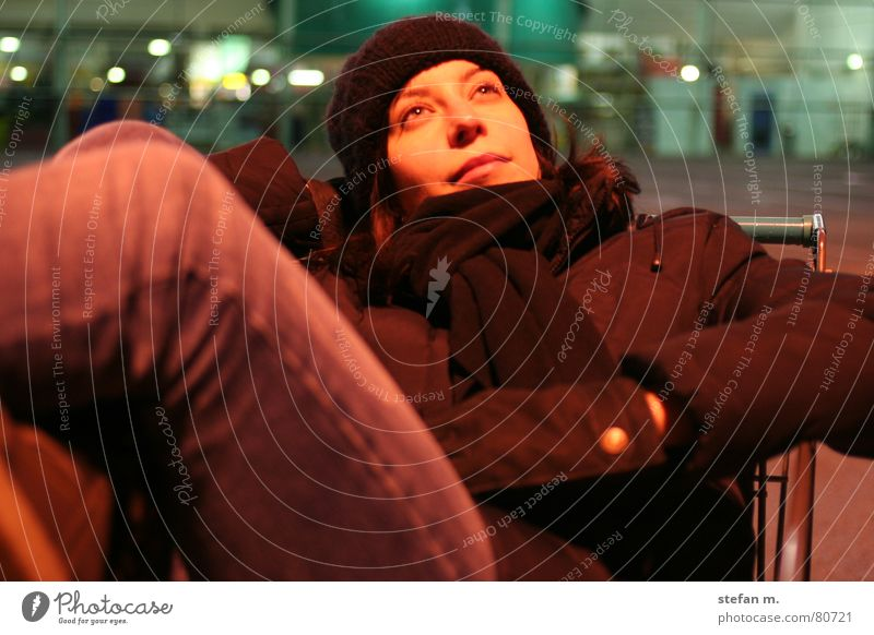 Woman Human being Calm Cold Relaxation Laughter Grinning Cozy Parking lot Night Supermarket Lean Shopping Trolley Pleasant Young woman Doze