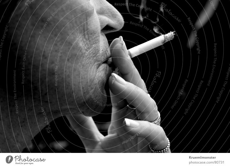 Smoking can be fatal!!! Harmful Disastrous Senior citizen Cigarette Woman Unhealthy Fingers Nail Hand Lady Black & white photo Manicure Female senior Smoke Face