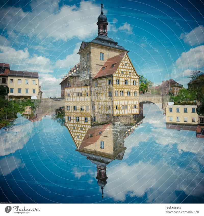 up so down Architecture Rococo Clouds Beautiful weather Bamberg Half-timbered house Facade Tourist Attraction Landmark City hall Exceptional Famousness