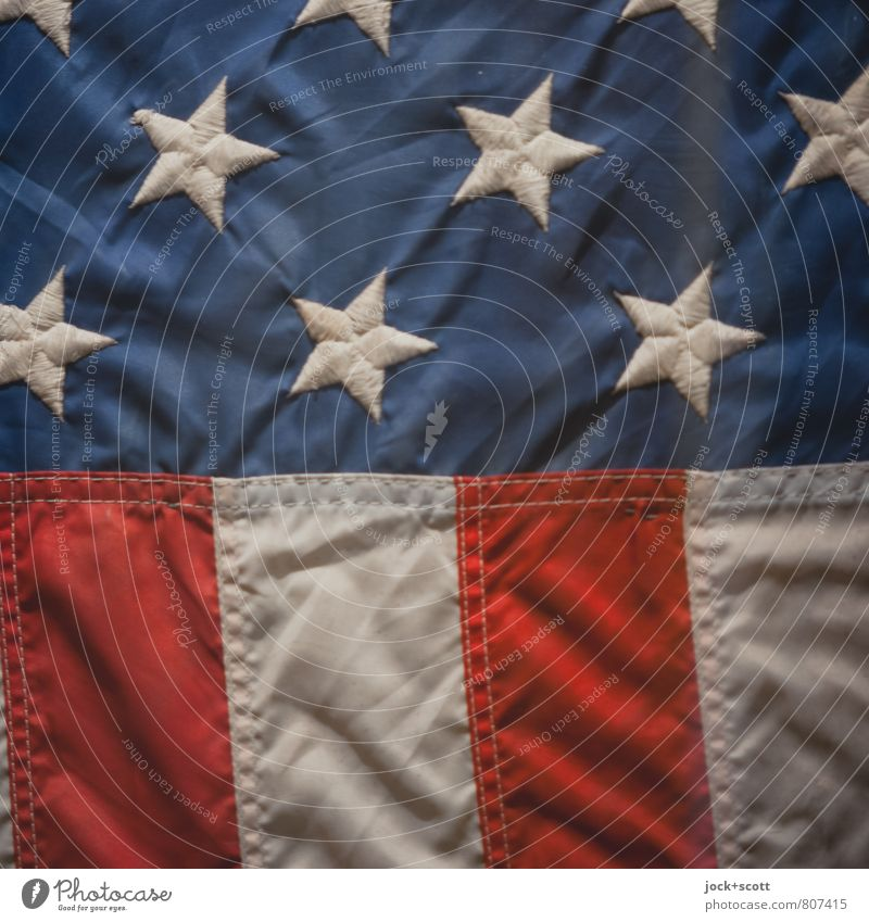 Star and stripes American Flag Cloth Sign Stripe Star (Symbol) Original Might Politics and state Pride Symmetry Classification Meaning Stitching Detail
