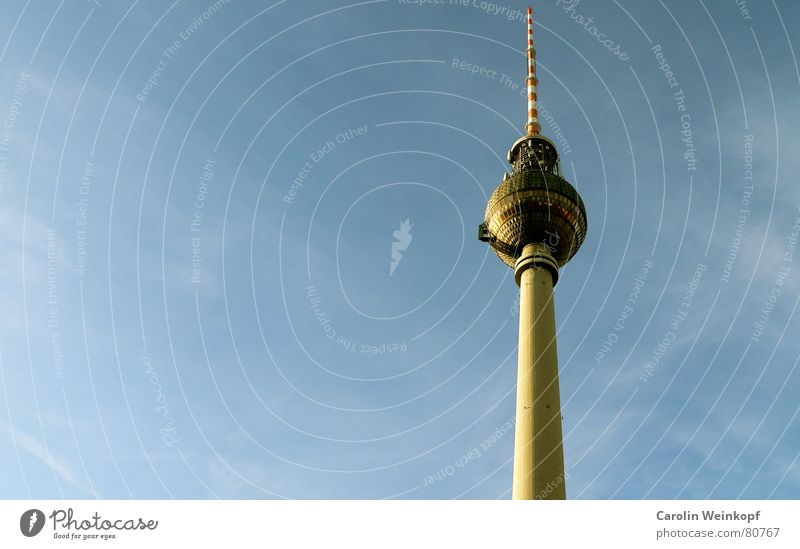 Sky Blue White Red Winter Clouds Berlin Germany Glass Tall Large Romance Culture Telecommunications Manmade structures
