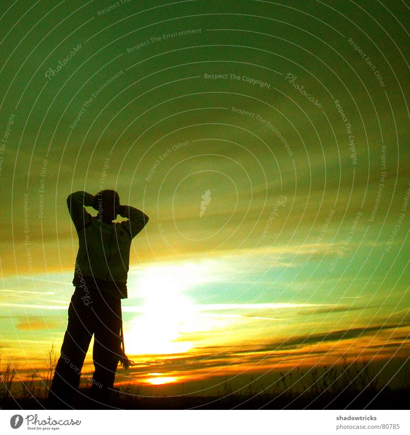 Human being Nature Sun Green Joy Clouds Yellow Sports Jump Playing Movement Landscape Dance Large Vantage point Bushes