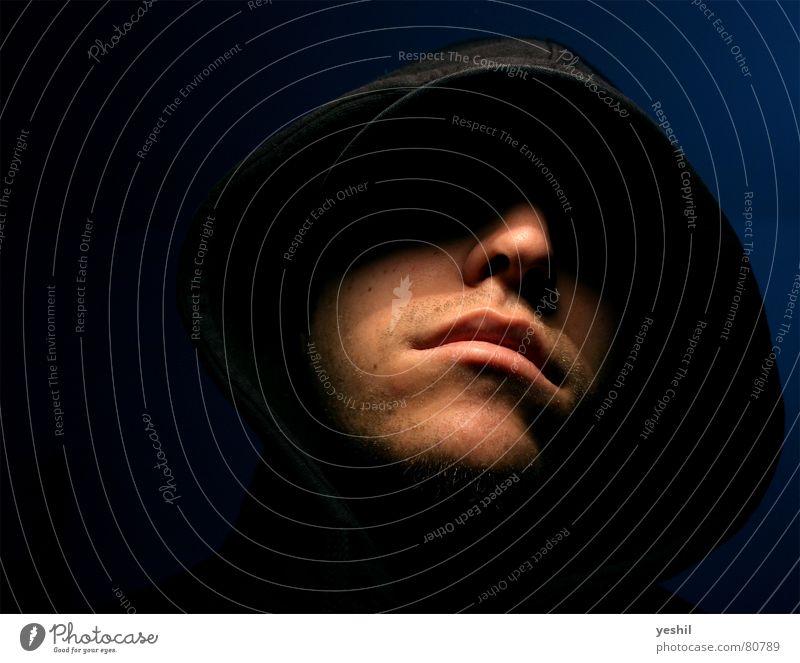 Human being Man Blue Black Dark Mouth Adults Nose Cool (slang) Dangerous Threat Evil Aggression Hooded (clothing) Criminal Masked