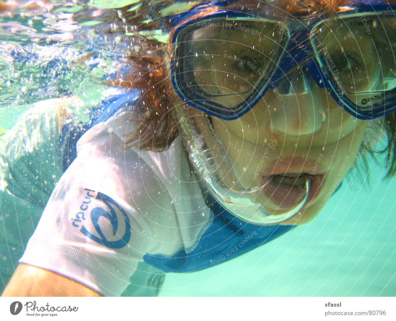 blubb blubb Amazed Lake Woman Diving goggles Ocean Bright Curiosity Portrait photograph Snorkeling Air bubble Surprise Underwater photo Young woman Transparent
