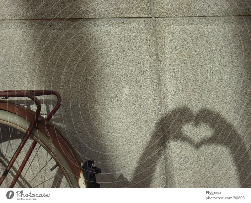 I heart... Bicycle Wall (building) Rear light Hand Driving Like Sincere Vehicle Heart Wall (barrier) Ancient Darken Old Love luggage carrier Spokes Shadow