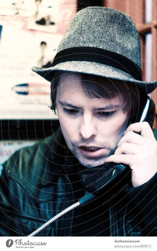 Man Youth (Young adults) Red Work and employment Telephone Cable Profession Hat Connection Wire Transmission lines England Connect Sixties Seventies To call someone (telephone)