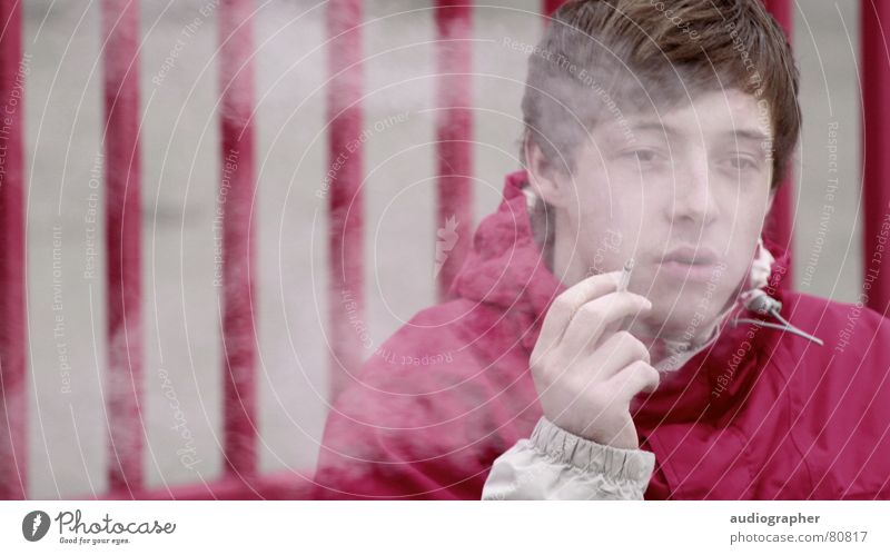 befuddled Smoke-filled Fence Violet Magenta Gray Cigarette Jacket Relief Portrait photograph Force Multicoloured Disastrous Fog Loneliness Hand Stripe Boredom