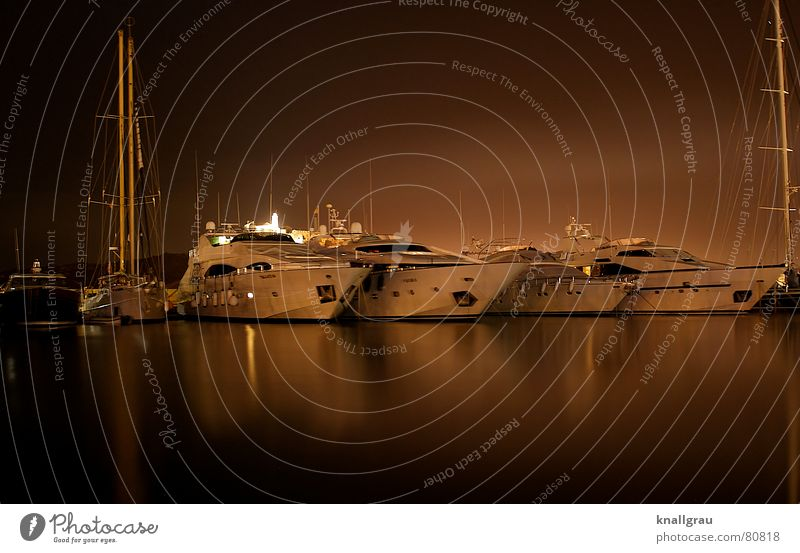 Harbour Nights Sport boats Noble On board Yacht harbour Millionaire Mole Sailing ship Motorboat Drop anchor Balearic Islands Luxury Expensive Captain Success