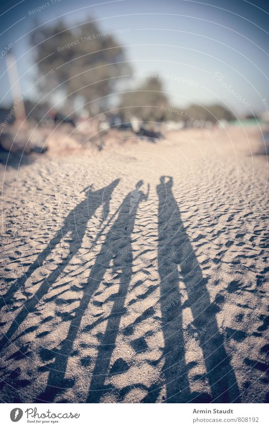 Shadows on the beach Lifestyle Joy Relaxation Vacation & Travel Tourism Adventure Far-off places Summer Summer vacation Sun Beach Ocean Human being Father
