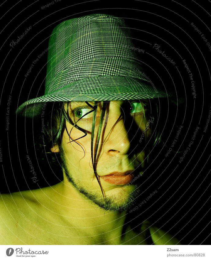 looks as green Green Boredom Headwear Facial hair Man Wet Human being Style portraite Hat Face Hair and hairstyles