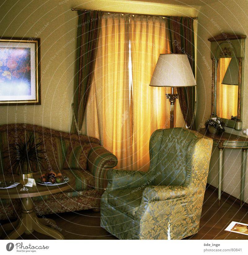 inside Standard lamp Boast Luxury Hotel room Armchair Mirror Sofa Table Lamp Curtain Noble Rich Cozy Furniture Drape Parquet floor Decadence Sublime Living room