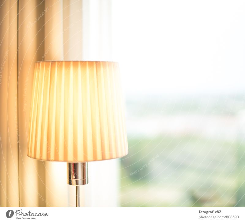 Far-off places Yellow Lighting Lamp Bright Vantage point Downtown Drape Awareness Hotel room Yellowness Reading lamp