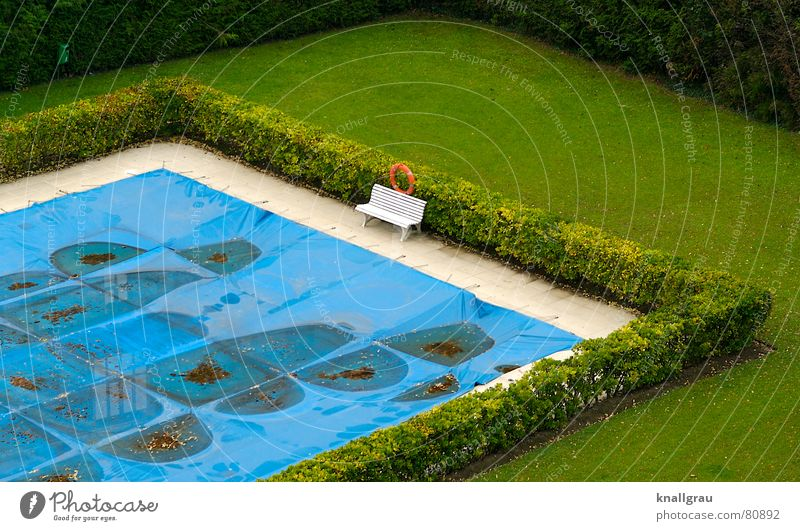 There by the pool Cover up Covers (Construction) Safety (feeling of) Unused Shut down Water basin Winter festival Overlaid Pool border Break Protective coating