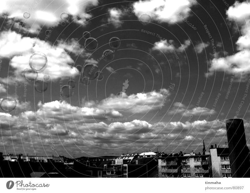 soap bubbles Town Panorama (View) Moody Clouds Soap bubble Berlin Downtown Sky Deep Contrast Capital city Vantage point Large Clouds in the sky
