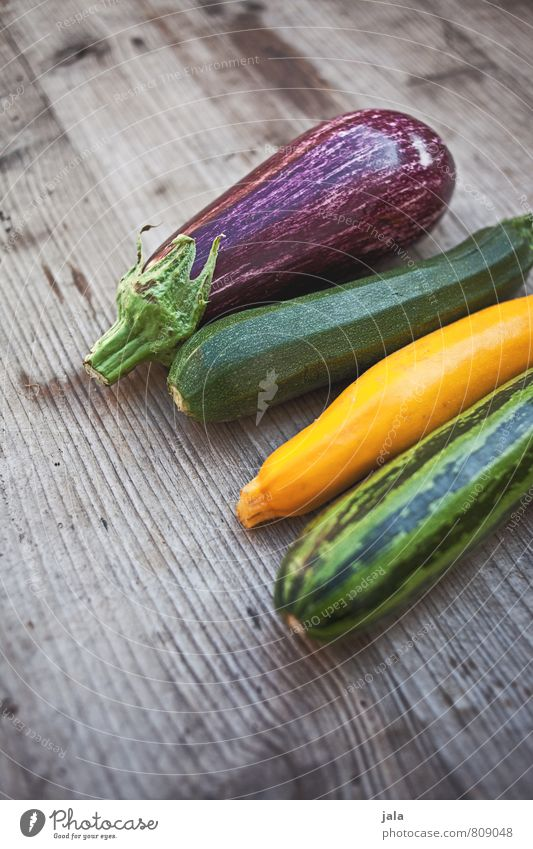 Healthy Eating Natural Food Fresh Nutrition Vegetable Delicious Appetite Organic produce Vegetarian diet Wooden table Zucchini Aubergine Raw vegetables