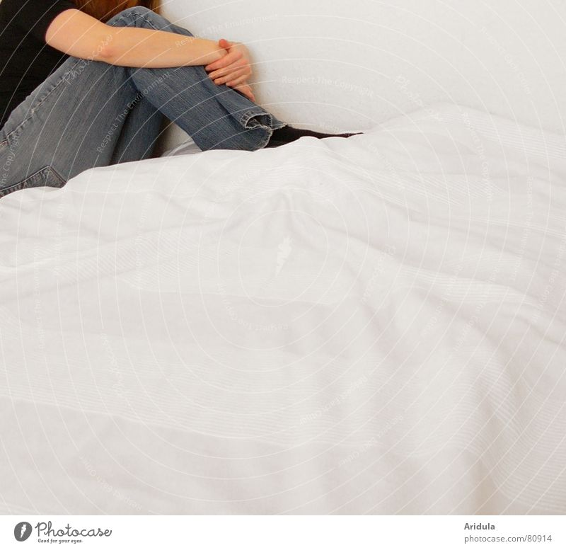 Woman Human being Hand Blue Feminine Wall (building) Sadness Fear Wait Arm Sit Grief Corner Gloomy Bed Pants