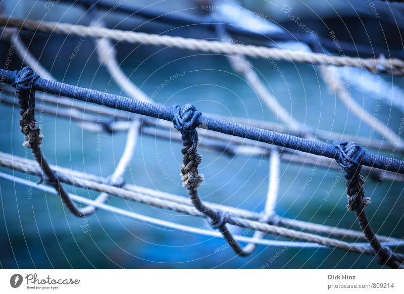 Maritime Networking Rope Navigation Sailboat Sailing ship Watercraft On board Metal Knot Old Historic Blue Brown Safety Protection Senior citizen Considerate