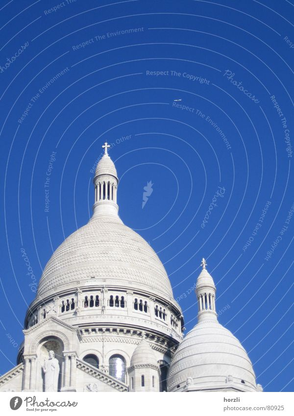 Twin Towers Place of pilgrimage Sacré-Coeur Montmartre Monument Sky blue Airplane Statue Domed roof Round France Paris Machinery Passenger plane Canopy White