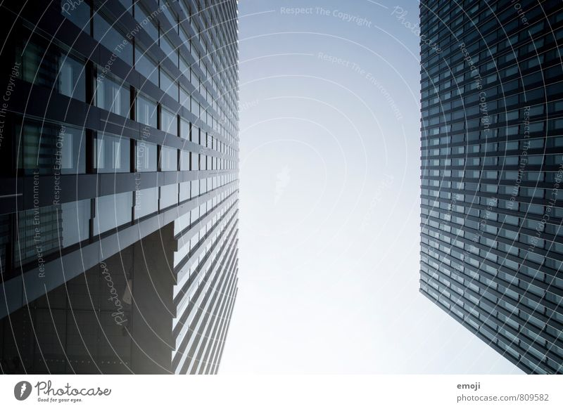 Düsseldorf Sky Town Capital city Downtown High-rise Bank building Architecture Facade Blue Duesseldorf Colour photo Exterior shot Deserted Day Worm's-eye view