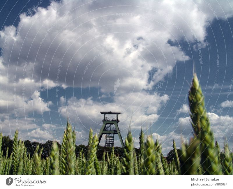 shaft in the field Nuclear waste Field Summer Clouds Wheat Industry shaft conrad Sky Wind