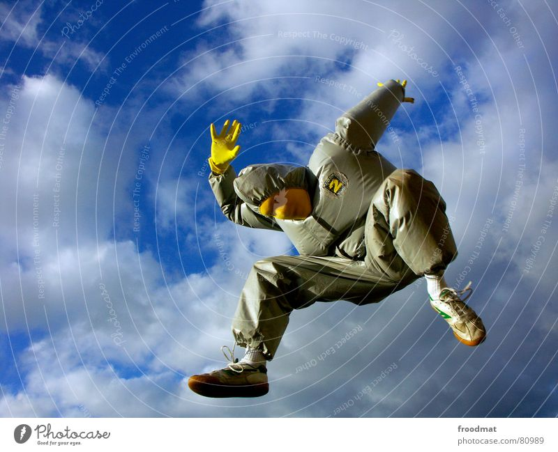 Sky Joy Clouds Yellow Jump Gray Art Funny Flying Crazy Mask Suit Stupid Surrealism Gloves Rubber