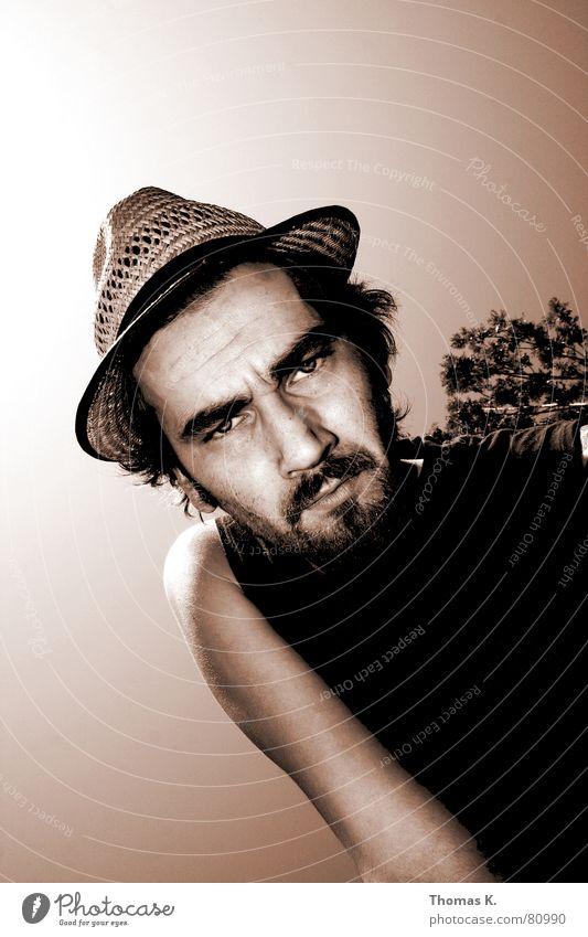 Man Face Emotions Arm Masculine Perspective Exceptional Hat Facial hair Facial expression Strange Self portrait Tilt Earnest Portrait photograph Monochrome