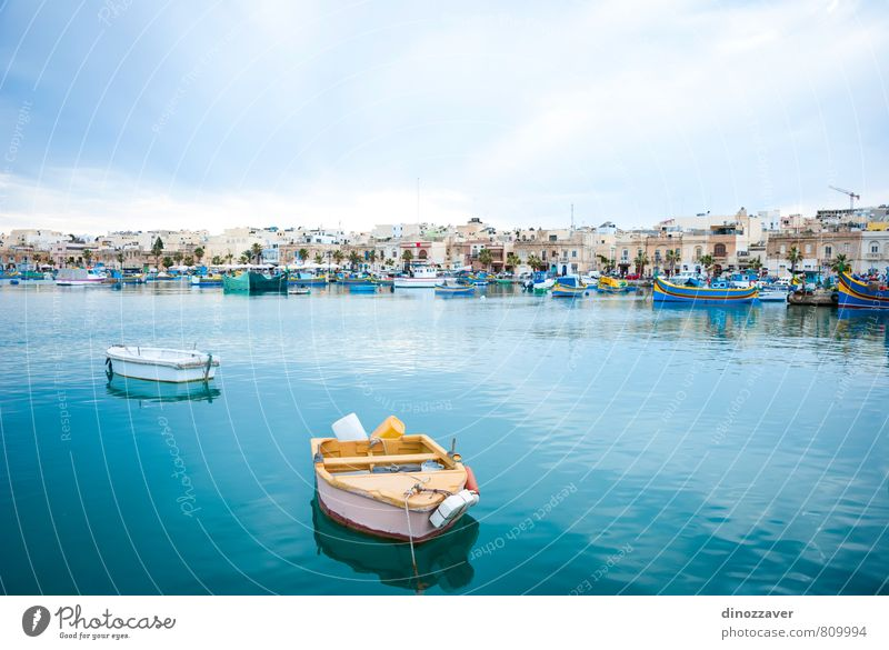 View over Marsaxlokk with boats, Malta Calm Vacation & Travel Tourism Summer Ocean Island Culture Coast Village Small Town Harbour Transport Fishing boat