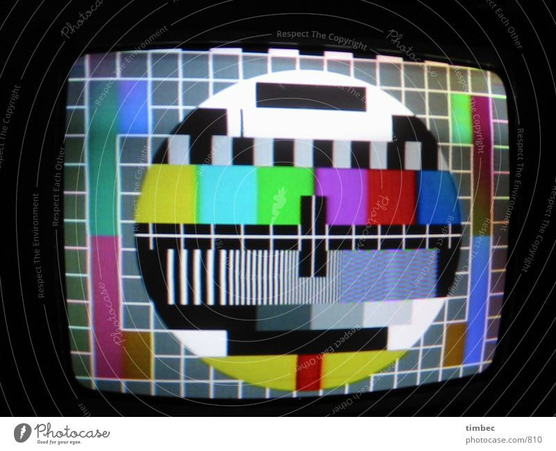 test pattern Test pattern TV set Night Stripe Interior shot Electrical equipment Technology television test picture Attempt Image