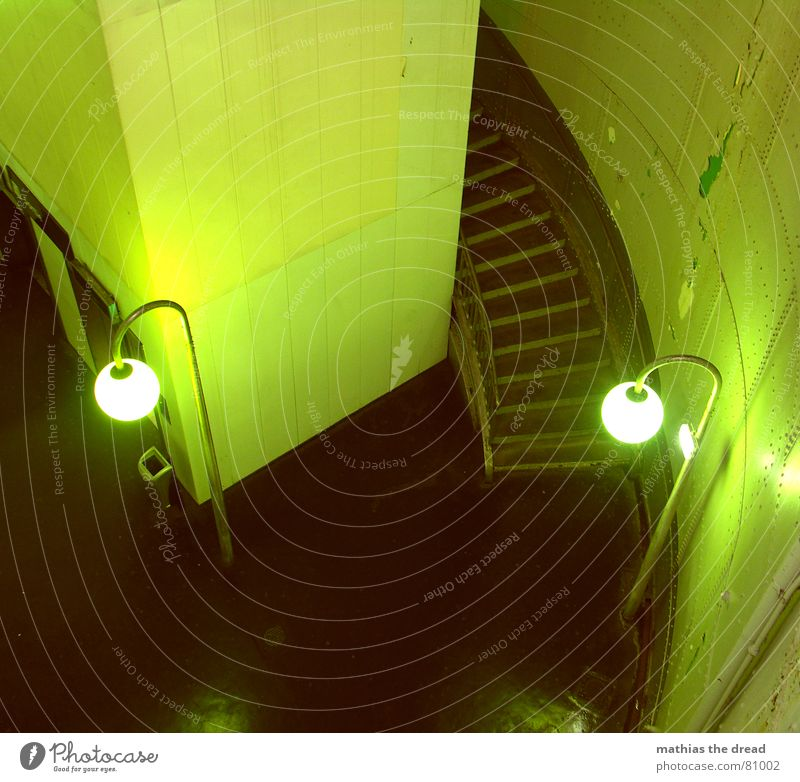 green glasses Steel cladding Tile Wall (building) Round Sharp-edged Lantern Green Downspout Light Empty Loneliness Threat Bird's-eye view Room Tunnel Deserted