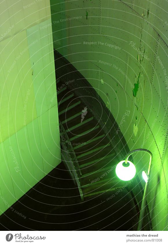 Green Loneliness Lamp Wall (building) Death Wall (barrier) Room Lighting Door Earth Empty Stairs Corner Dangerous Gloomy Round