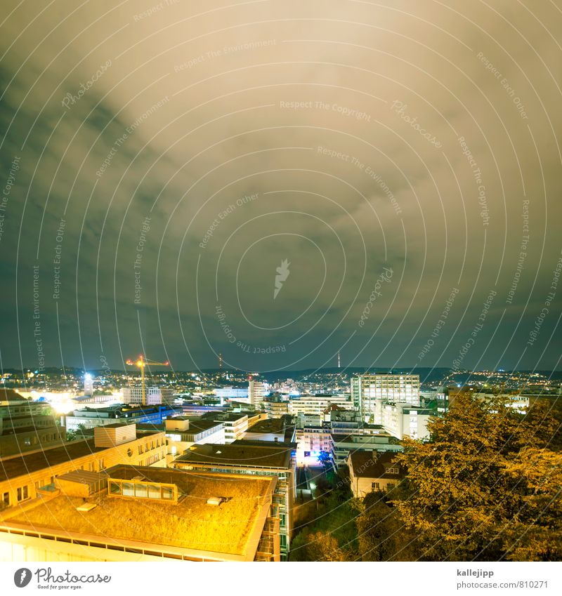 City Lighting Energy industry Illuminate High-rise Roof Construction site Skyline Downtown Capital city Crane Night sky Renewable energy Stuttgart