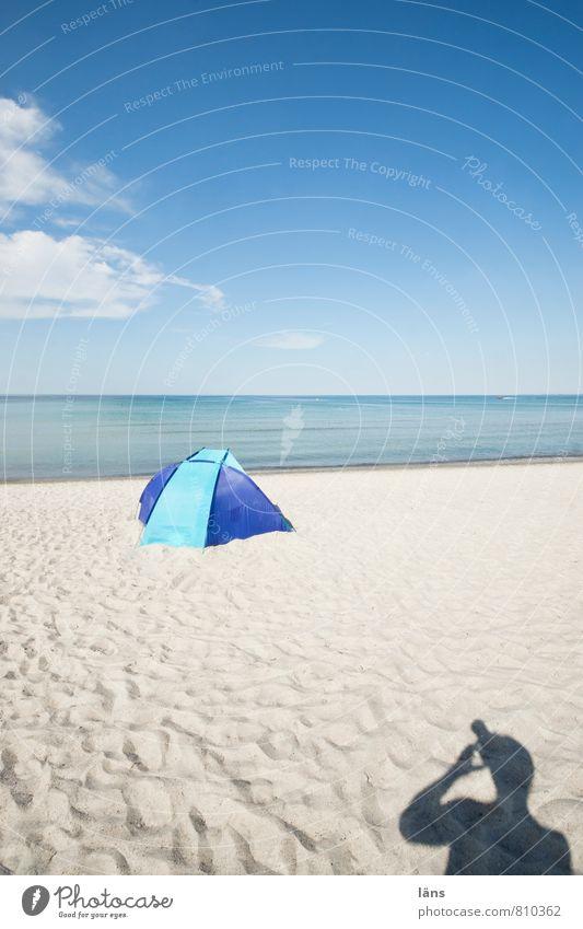 photograph Vacation & Travel Tourism Trip Summer Summer vacation Sun Beach Ocean Human being 1 Sand Air Water Sky Clouds Horizon Coast Blue Serene