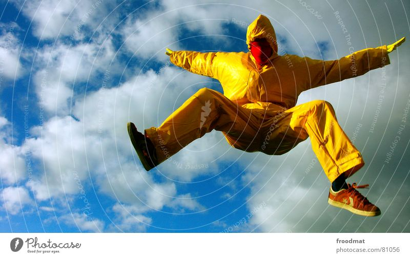 Red Joy Yellow Jump Gray Art Funny Flying Crazy Mask Suit Stupid Surrealism Rubber Futile Arts and crafts