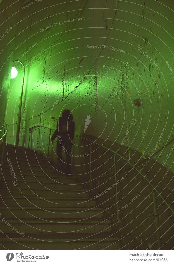 Woman Green Loneliness Lamp Wall (building) Death Wall (barrier) Room Lighting Fear Door Earth Empty Stairs Dangerous Corner