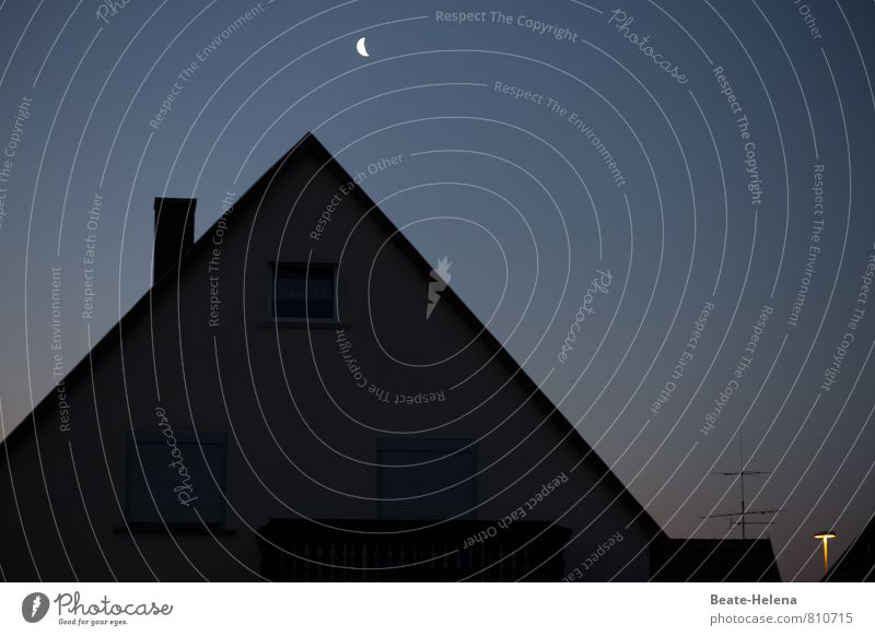 Lights of the night Night sky Moon Outskirts House (Residential Structure) Roof Chimney Illuminate Dark Bright Blue Yellow Black Crescent moon Street lighting