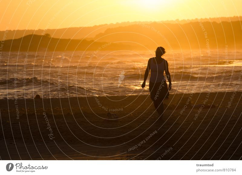 beach walk Vacation & Travel Tourism Adventure Far-off places Freedom Summer Sun Beach Ocean Waves Skirt Walking Dream Maritime Warmth Feminine Yellow Gold