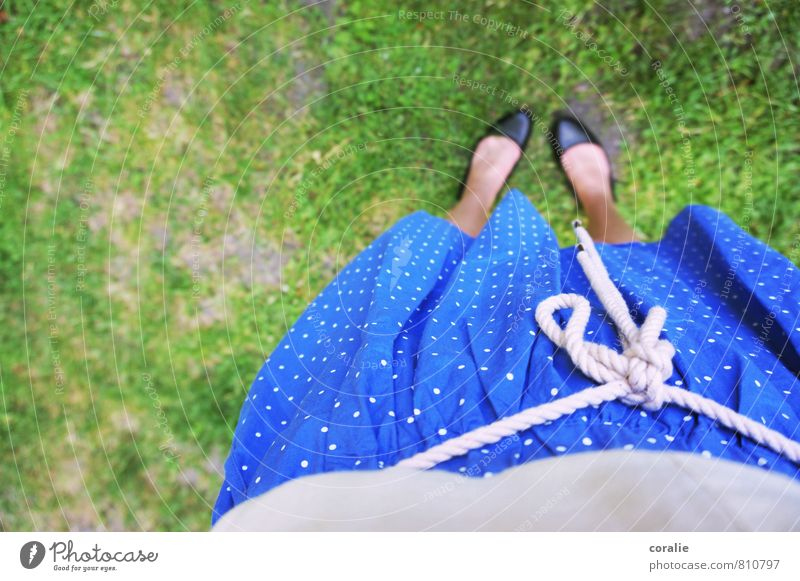 summer girl Feminine Young woman Youth (Young adults) Stomach Feet 1 Human being Garden Meadow Skirt Ballerina Point Polka dot Girlish Playing Summery Dress