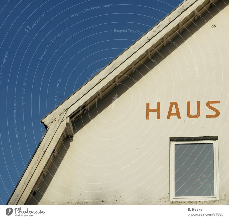 Half house Vacation home House (Residential Structure) Window Roof Europe Vacation & Travel Villa Plaster Facade Borkum Letters (alphabet) Characters Sky Blue