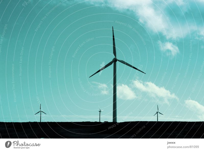 Sky Blue Clouds Environment Energy industry Electricity Technology Wind energy plant Beautiful weather Environmental protection Sustainability Renewable energy