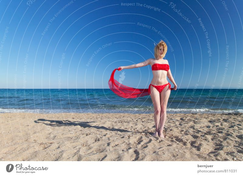 wind Sports Human being Feminine Young woman Youth (Young adults) 18 - 30 years Adults Fashion Bikini Blonde To enjoy Smiling Esthetic Happiness Thin Blue Red