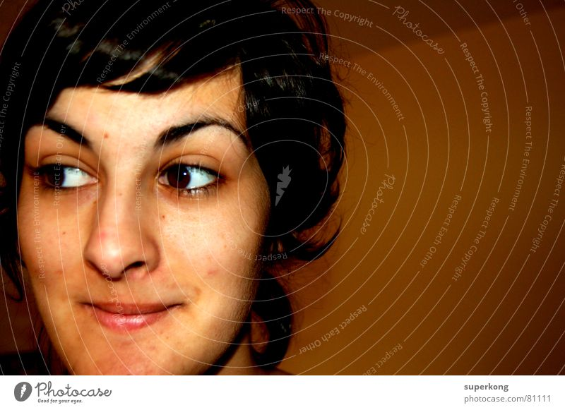 020 Young woman Youth (Young adults) Adults 18 - 30 years Portrait photograph Face of a woman Woman`s head Partially visible Section of image Facial expression