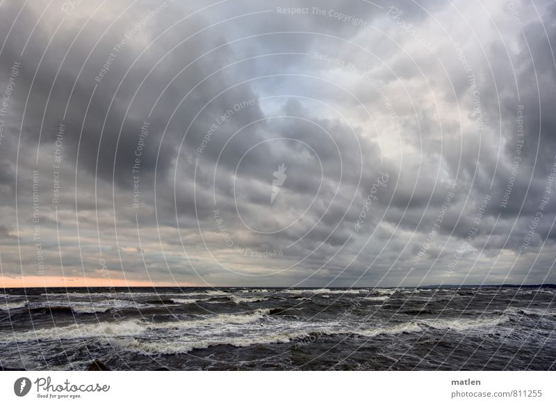 three-weather relay Landscape Water Sky Clouds Horizon Sunrise Sunset Spring Weather Bad weather Wind Gale Waves Baltic Sea Ocean Deserted Blue Gray Pink White